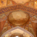 Painted ceiling in the Chehel Sotoun pavilion in Esfahan, built by Shah Abbas II