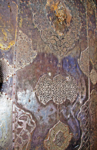 "Silver entry door to the Masjed-e Imam ""Blue"" Mosque of Esfahan"