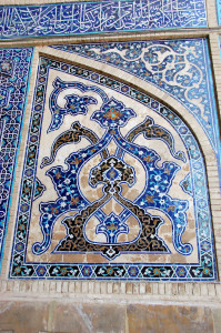 Inlaid mosaic tiles in Esfahan's Masjedeh Jomeh