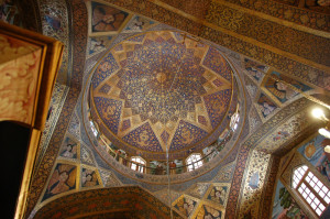 Painted ceiling dome, interior of the 17th c. Armenian Vank Cathedral, Esfahan