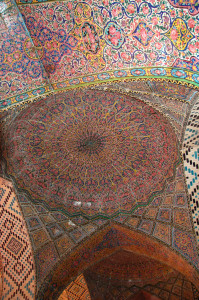 "Glazed dome tiles in the 19th c. Nasīr al-Mulk or ""Pink"" Mosque in Shiraz, built in the 19th c. under the Qajars"