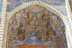 "Exterior niche tiles, Nasīr al-Mulk or ""Pink"" Mosque in Shiraz, built in the 19th c. under the Qajars"