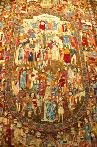 Iranian pictorial carpet in the Carpet Museum of Iran,  Tehran