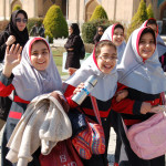 Friendly Esfahan schoolgirls in Naqsh-e Jahan (Imam) Square