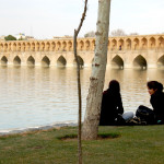17th c.  Allah-Verdi Khan Bridge in Esfahan fords a full river for the first time in four years