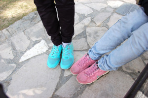 Exhuberant shoes of a couple of otherwise conservatively dressed Esfahan students
