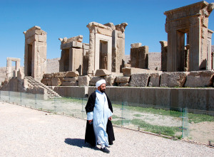 An Imam enjoying the ruins Persepolis