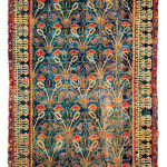 "'Alcaraz' rug with gothic design, Spain, circa 1500, 1.28 x 1.99 m (4' 2"" x 6' 6""). Instituto de Valencia de Don Juan, Madrid, no. 3.860"