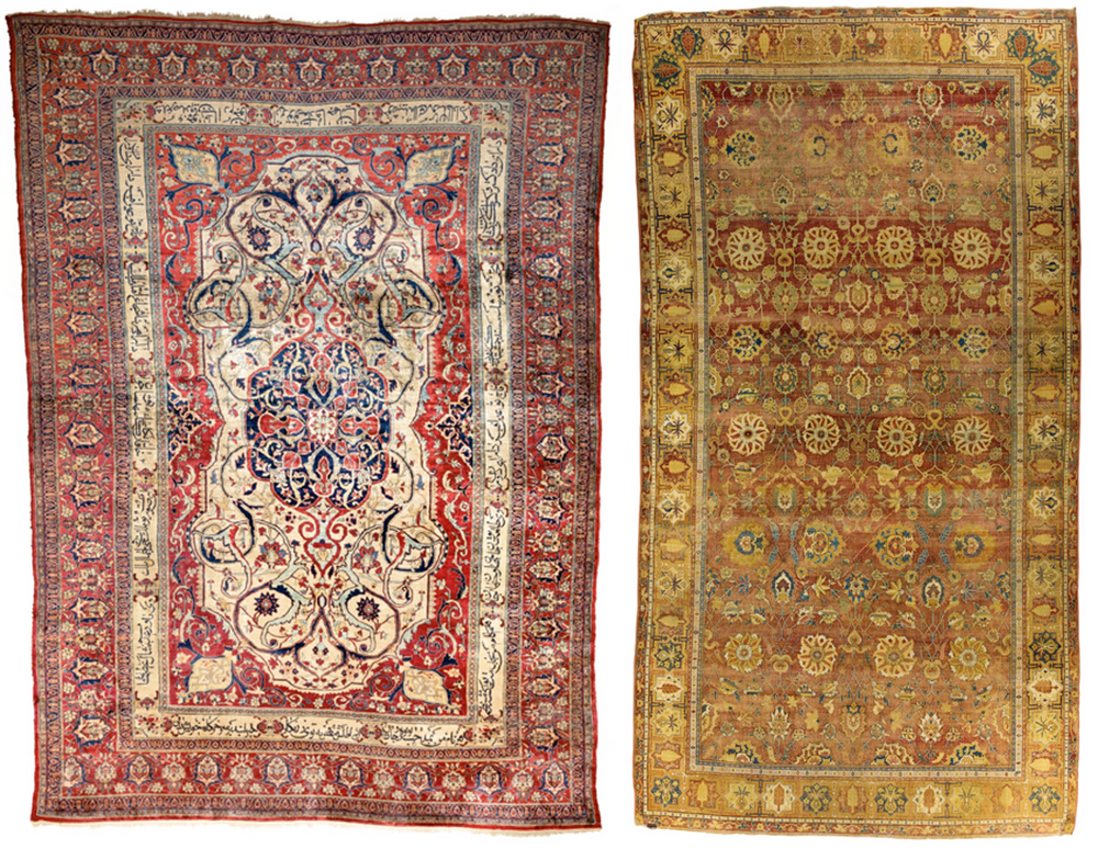 Lot 116, A fine silk Heriz carpet, Northwest Persia and Lot 92, A Lahore carpet, Northwest India, Sotheby's