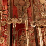 Ecclesiastical vestments and Armenian priests' staffs with ivory double headed dragon finials, Collection of the Holy Mother See, Etchmiadzin, Armenia