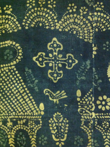 Resist dyed indigo altercloth, made in India for the Armenian Church (detail), Holy Mother See, Etchmiadzin, Armenia