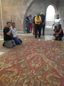 Artur Telfeyan and Ben Evans discuss a 17th century Dragon rug, Museum of Sardarapat, Armenia