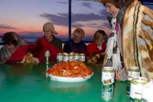 Sunset lake cruise with beers and crayfish on a chilly Lake Sevan, Armenia