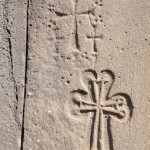 Carvings of crosses - ubiquitous in Armenia, Haghpat Monastery, Armenia