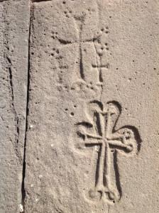 Carvings of crosses - ubiquitous in Armenia, Haghpat Monastery, Armenia