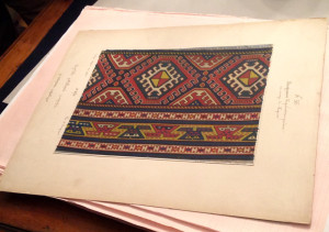 Handpainted page from a 19th century portfolio of Caucasian rug designs
