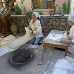 Making lavash flatbread at the farewell reception, Silk Road Hotel, Yerevan, Armenia