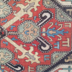 Caucasian embroidery (detail), 18th century. Silk embroidered in cross stitch. Collection of the Carpet Museum, Shushi, Republic of Nagorno-Karabakh, seen at the Folk Art Museum, Yerevan, Armenia (see p. 97 HALI 179)