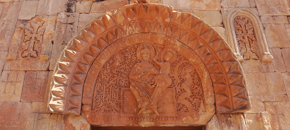 Carving by the 13th century architect, sculptor and illustrator Momik, St. Karapet church, Noravank Monastery, Armenia.
