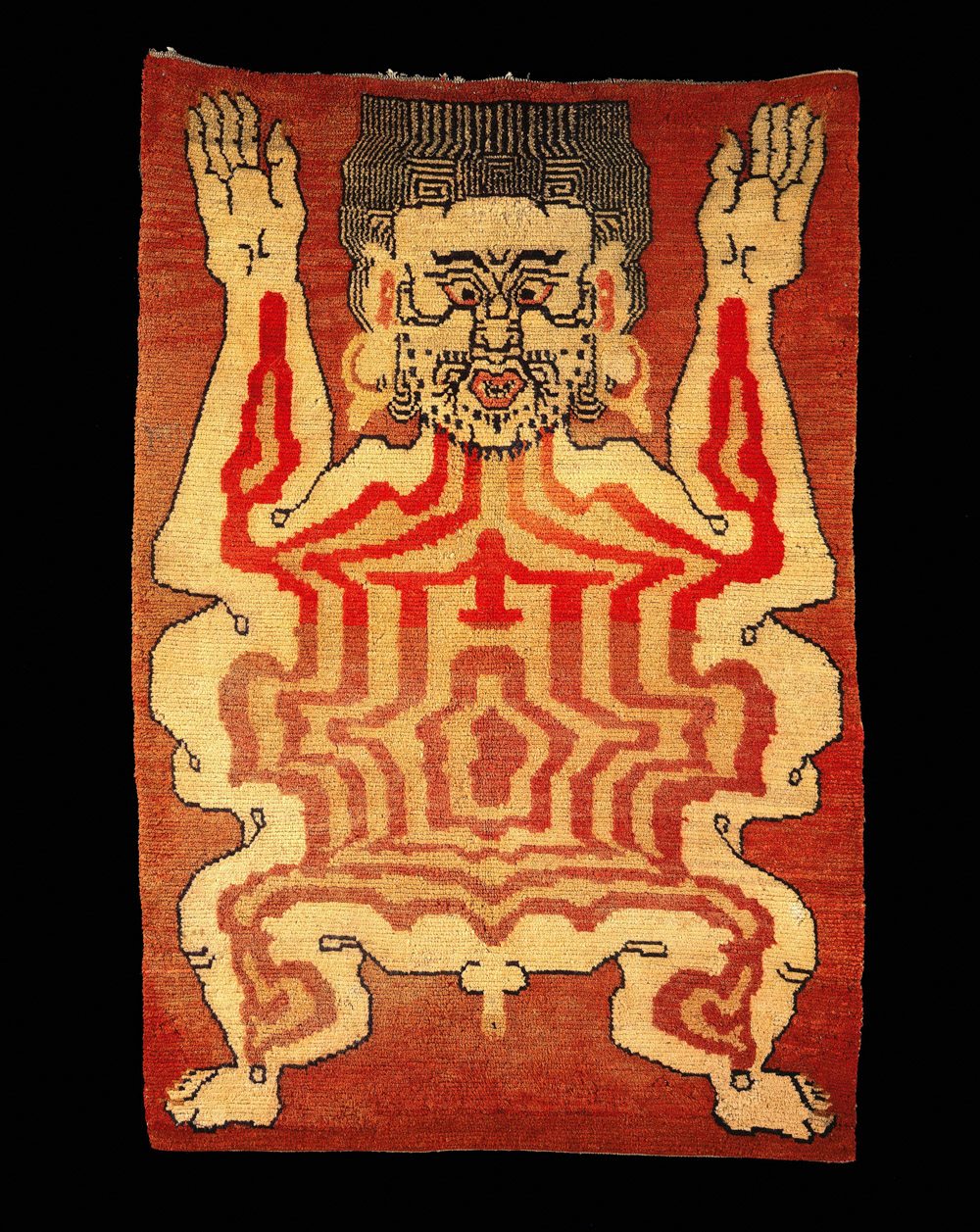 Carpet of Flayed Man. Collection Anthony D'Offay, courtesy Rossi and Rossi. Features in Tibet's Secret Temple: Body, Mind and Meditation in Tantric Buddhism.