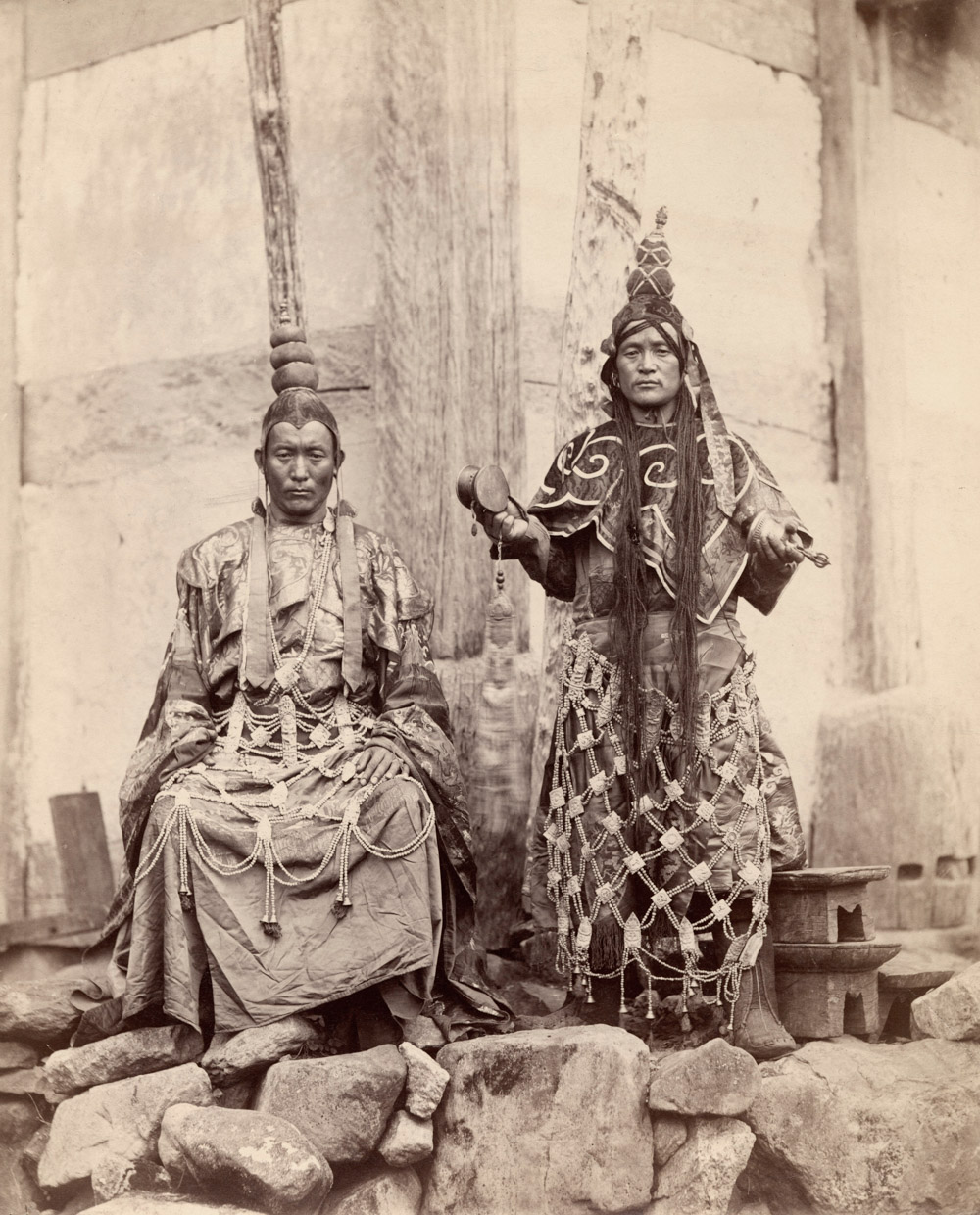 Lamas at Talung in Sikkim, East India. Johnston and Hoffman, Photograph, Sikkim, India, 1897. (c) Royal Geographical Society.