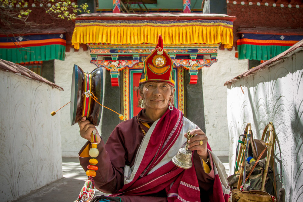 Monk at Luhkang Temple. Production photograph. 'In Search of Tibet's Secret Temple'. David Bickerstaff, 2015. Credit: Image by David Bickerstaff 2015. Features in Tibet's Secret Temple: Body, Mind and Meditation in Tantric Buddhism.