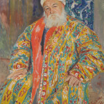Bukhara painting showing a fully embroidered coat, made in the Emir's workshops, similar to one being exhibited by Caravanserai, Dallas