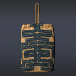 "Ainu attush bag, Hokkaido, Japan, 19th century .Attush (inner bark from an elm tree) with cotton appliqué and embroidery. Length (including handle)18"".  Joe and Katie Loux"