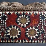 Kanepoche, Shaman's Box, Puyuma or Paiwan people, Taiwan. Wood, iron, mother of pearl inlay, vegetal closure, red pigments and old coins. Joe and Katie Loux