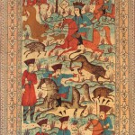 Qajar painted and printed cotton Kalamkar panel with a hunt scene from the Shahnameh. Esfahan, Ca. 1880-1910. 308 cm x 150 cm. Est : €400-800