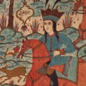 Detail. Qajar painted and printed cotton Kalamkar panel with a hunt scene from the Shahnameh. Esfahan, Ca. 1880-1910. 308 cm x 150 cm. Est : €400-800