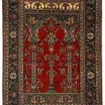 Ornamentum. Tabriz silk prayer rug, northwest Persia, ca. 1880, 1.85m x 1.35m
