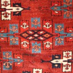 James Cohen. Yomut Turkmen kepse-gol main carpet, mid 19th Century. Symmetrically knotted, with cotton wefting.
