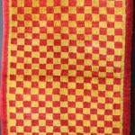 "James Cohen. Tibetan checkerbord carpet, circa 1900.  2'8"" x 4'10"""