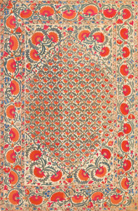 Lot 1065. Uzbek suzani embroidery, 19th century. Sold for $13,125