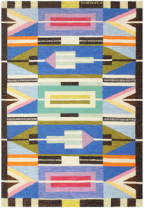 Lot 1097. Swedish kilim by A. Osterberg, 20th century. Sold for $22,500
