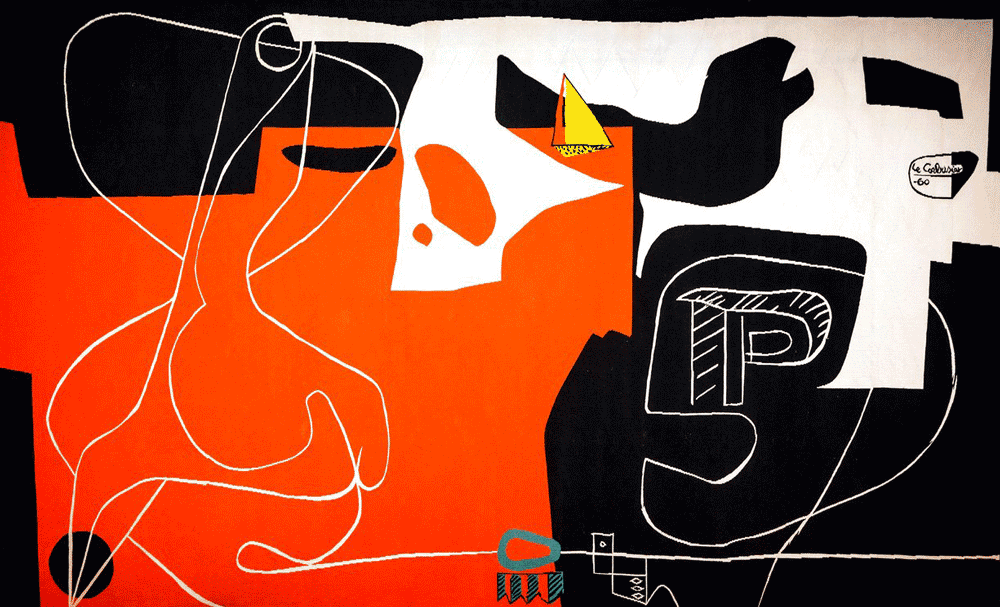Les Dés Sont Jetés (The Dice Are Cast) tapestry by Le Corbusier commissioned by Jørn Utzon. Illustration: Anna Kucera/Sydney Opera House