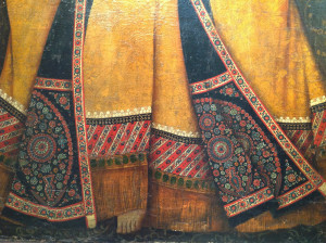 Dancer with a Tambourine (detail) showing Cashmere shawls, Qajar painting, early 19th century, Simon Janashia Museum of Georgia, Tbilisi