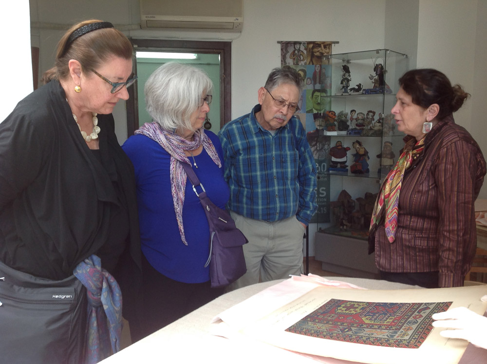 Viewing the archives with Director, Irine Koshoridze at the Georgian State Museum of Folk and Applied Art