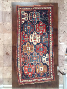 Unusual rug with Armenian inscription, Museum of Sardarapat, Armenia
