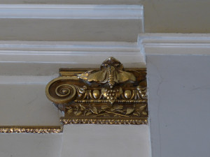 Gilded silk moth ornamentation in the stairwell at The Silk Museum, Tbilisi.