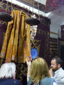 Embroidered deer skin coat, Kyrgyzstan, 'not for sale' at at Tbilisi dealers