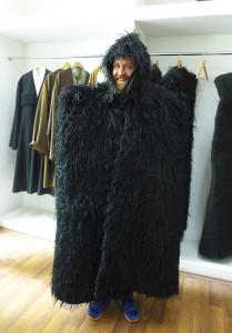 Ben Evans models a newly made traditional Georgian felt shepherds costume, Tbilisi