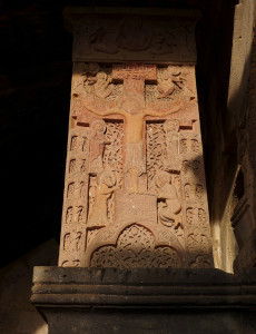 Khachkar stone coloured with red kermes dye, Haghpat Monastery, Armenia