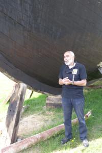 Captain Karen Balayan introduces the Cilicia sailboat, Lake Sevan, Armenia