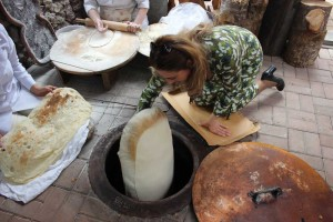 Lavash bread baking at the Silk Road Hotel, Yerevan