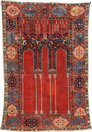 Lot 7116 The Anton Danker Ladik Column Prayer Rug, 17th_century. Henrys Auktionhaus, 11 June, estimate €15,000.