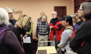 Professor Levon Choogaszian reveals precious fragments of early Indian and Sasanian textiles used in medieval book bindings, Matenadaran, Yerevan