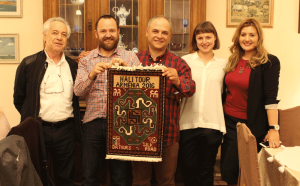Levon der Bedrossian, Ben Evans, Vladimir Grigoryan, Rachel Meek and Tatev Muradyan - presentation of a hand knotted commemorative rug made at the Silk Road Hotel Folk Arts Hub, Yerevan