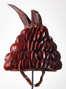 Ceremonial hat.  Bwani society,  Lega people, DRC. early to mid-C20th.  Seed pods on wicker frame surmounted with skull on a horn bill. Bryan Reeves